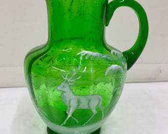 Antique Green Glass Jug with Enamelled Stag circa 1865