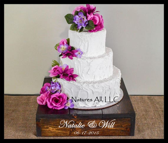 "14"" Rustic Wedding Cake Stand/Personalized Option/Dark Walnut/Country Wedding Cake Stand/Rustic Cake Stand"