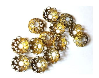 10 VINTAGE flower cap beads, metal lace design 10mmx5mm height