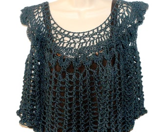 Crochet Top, Sleeveless Top, Black Top, Summer Crochet, Summer Blouse, Cotton Tunic, Womens Summer Shirt, Womens Black Shirt, Sun Top,