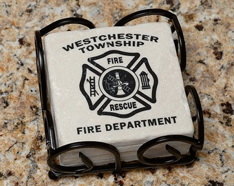 Firefighter Fire Department Name Tumbled Stone Coasters- set of 4 w/holder