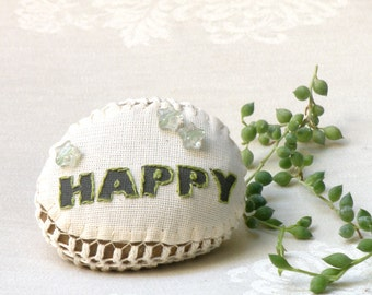 Embroidery Message  Stone ,Happy Lace Stone, Home decor, Crochet  Rock, Paperweight, Shabby chic Decor, Door stop, Wedding Favor,
