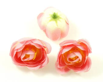 Set of 3 artificial flowers without stem 4cm - pink