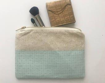 Mint green bridesmaid makeup bag - cosmetic bag, bridesmaid gift, birthday gift, pencil pouch, travel bag, toiletry bag, thank you gift