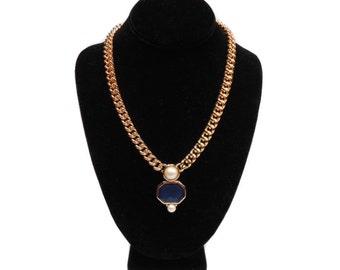 vintage MONET statement necklace / gold chain / blue purple enamel / pearl / modern contemporary / women's vintage jewelry