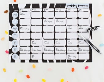 Weekday Planner | Weekly Planner | Family organiser | Family planner | Planner printable | Instant Download | Black and white