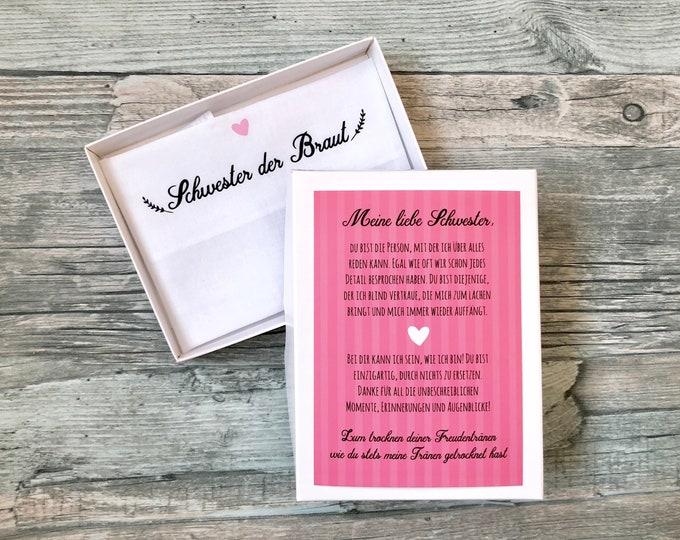 Gift sister of the bride or groom-handkerchief for tears of joy