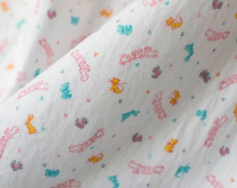 Vintage 50's children's white flannel fabric w cats bunnies bears and trains