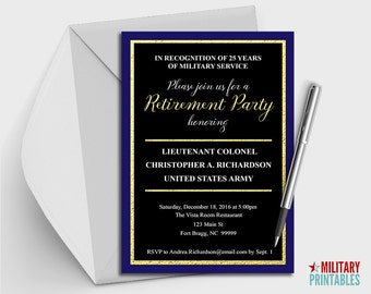 Army Retirement Party Invitation Printable, Editable Invitation, Retirement Party, Military Retirement Army Retirement Army Party Army Gift