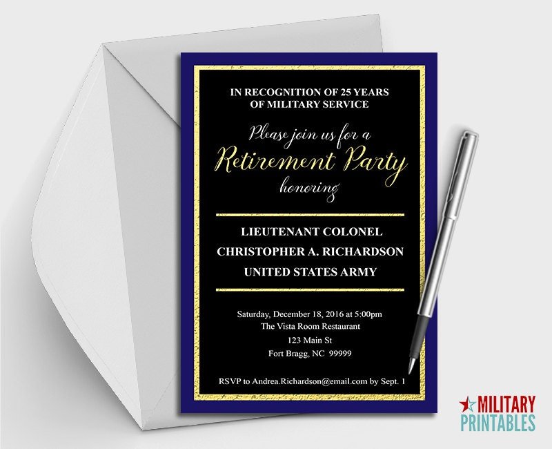 Army Retirement Party Invitation Printable Editable