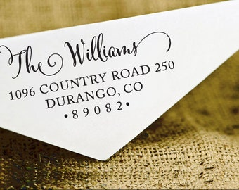 Custom Rubber Stamp, Custom Family Address Stamp, Self Inking Return Address Stamp, Calligraphy Stamp, Personalized Address Stamp HS116P