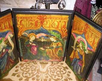 Vintage 27x14.Byzantine Religious Triptych/Trifold Desk Top Old Wooden Devotional Virgin Mary/Madonna & Saints Icon Signed.