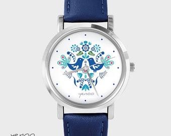 Bracelet Watch - Folk birds, blue - navy, leather