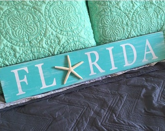 Tropical Starfish Florida Wood Sign, Rustic Florida Starfish Sign, Coastal Beach House, Hand Painted, Beach Decor, Wall Art, Gift, Holiday