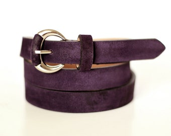 Free shipping! Purple belt, leather belt, womans belt, suede belt, violet belt, waist belt, belt for dress, gift idea, Purple suede belt