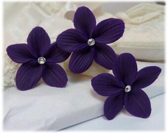 Purple Hair Flowers - Purple Flower Hair Pins, Purple Wedding Hair Flowers, Purple Bridal Hair Accessories