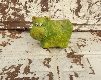 1970s CUTE Green Hippo Spring Planter Bank ~ Smiling Hippo Planter ~ Vintage Hippo Pen Holder ~ 8