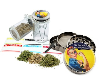 "Do Nothing - 2.5"" Zinc Alloy Grinder & 75ml Locking Top Glass Jar Combo Gift Set Item # G021615-042"