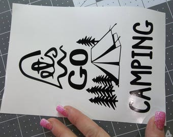 Lets go Camping(with tent) Sticker Decal