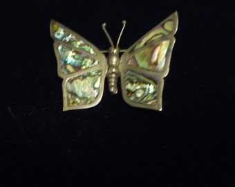 Mexican Silver and Abalone Butterfly Brooch- Glowing multi-shade.