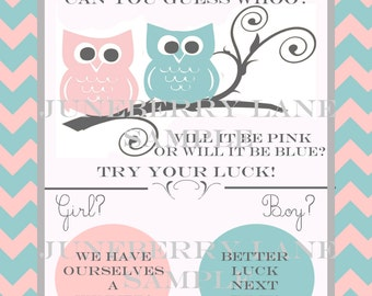Owl Baby Gender Reveal Scratch-off PDF file