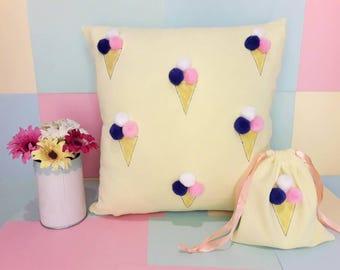 Ice cream Pillow, pillow case, fun pillows, ice cream, gift for her, kids room decor, home decor, home sweet home, cut pillows, kids gift
