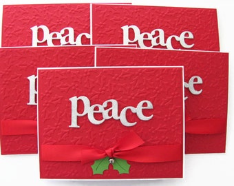 Peace Christmas Card Set, Embossed Holly Card Set, Embossed Christmas Cards Set, Set of 5, Holiday Card Set, Embossed Cards, Peace Card Set