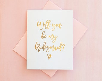 Gold Foil Will You Be My Bridesmaid card bridesmaid proposal bridesmaid invitation foil bridesmaid card bridesmaid box bridesmaid gift pink