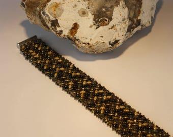 Bronze coffee green herringbone bracelet
