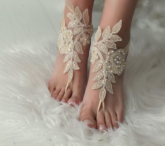 beach wrist lace barefoot sandals sandals Bridal Wedding lace Champagne barefoot barefoot sandals wedding Beach sandals wedding Flexible wfY4O4qx