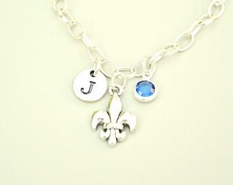 Fleur de lis bracelet, Fleur de Lis Jewelry, French Jewelry, Silver Bangle Bracelet, Fleur de Lis gift,Louisiana Bracelet, Louisiana Jewelry