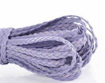 1 meter cord braided faux leather purple 5 mm