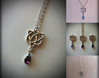 Amethyst Crystal Celtic Heart Pendant Irish Wedding Jewelry Celtic Necklace