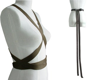 Leather Body Harness, Street Style Fashion, Leather Wrapping Strap Belt, Renaissance Festival, Costume, Long Bow Belt, Dark Brown Goth BLACK