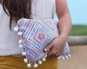 Pochette à main boho, pochette hippie chic, sac bohème, grande pochette ethnique, sac soirée, cadeau femme, mariage, jacquard, tendance