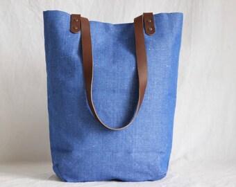 Shoulder bag with leather handles, fabric bag, shopper, Totebag, cobalt blue
