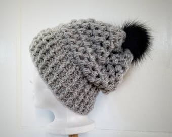 Piper Slouch Beanie.Ready to Ship// SILVER HEATHER Slouch//Silver Light Gray Beanie//Pom Pom//Crochet Hat//Puffy Hat//Ribbed Band