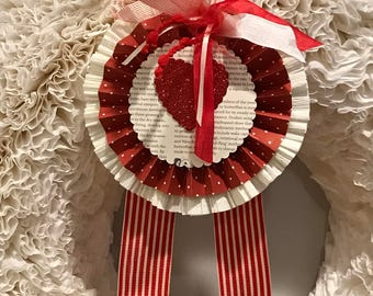Valentine Paper Rosette/Valentine Medallion/Customize Valentine ornament