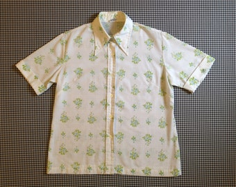 1960's, button up, long collar shirt, in white, with blue raspberry and floral print, Women's size 36 (Medium-Large)
