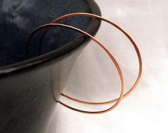 Copper Hoop Earrings, Large Reverse Hoops