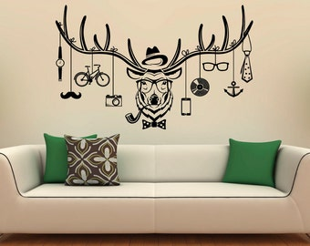 Deer Hipster Wall Decal Deer Antlers Vinyl Stickers Wild Animals Interior Home Design Wall Art Murals Window Sticker (29d01r)