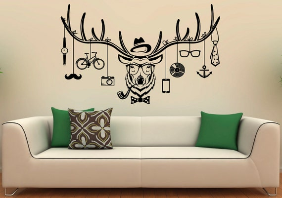 Deer hipster wall decal deer antlers vinyl stickers wild for Awesome home design ideas with horse decals for walls