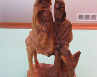 Vintage Olive Wood Carving Holy Family Jesus, Mary, and Joseph Free Shipping