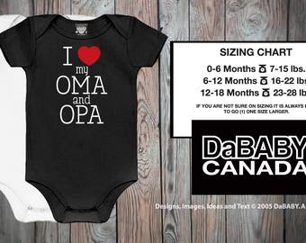 I Love My Oma & Opa Bodysuit - German Grandparents -  I Love My Oma and Opa Shirt - Oma and Opa Baby Gift - Take Home Hospital Outfit