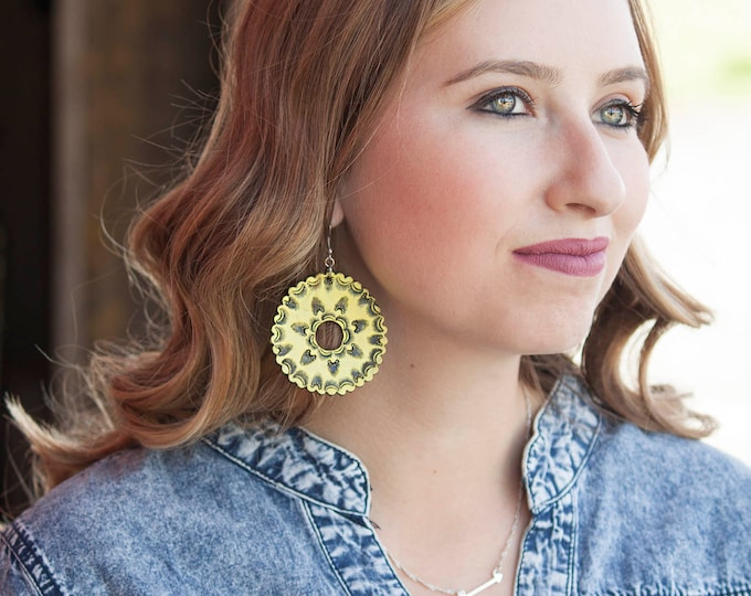 Featured listing image: Tooled Leather Earrings- Yellow Mandala