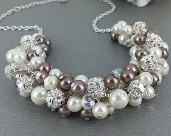 Wedding Necklace Pearl Cluster Necklace Ivory and Taupe Necklace Bridesmaids Gift Pearl Necklace Vintage Style Chunky Necklace