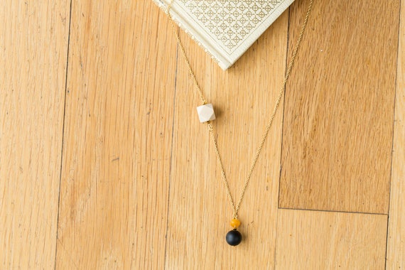 Black Agate & Gemstone Drop Diffuser Necklace (Gold)