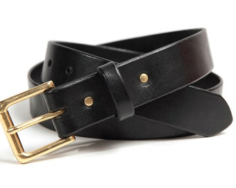 Full grain leather belt, BLACK, Solid Brass buckle