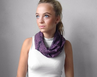Purple Scarf-Black Scarf-Infinity Scarf-Silk-Scarf-Scarves-Scarves for Fall-Scarves for Summer--Scarves for Spring-Holiday Gift-Gift for My