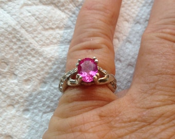 Hot Pink Sapphire Topaz accents Ring